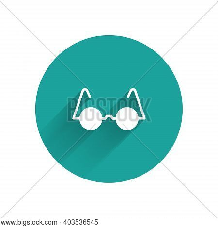 White Eyeglasses Icon Isolated With Long Shadow. Green Circle Button. Vector
