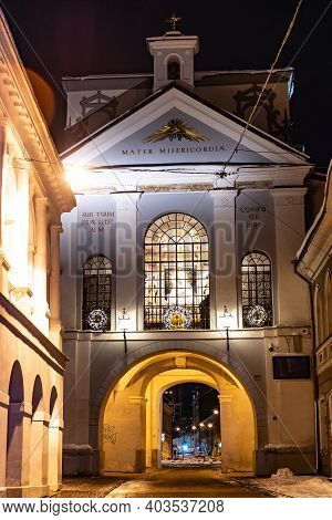 Vilnius, Lithuania - January 14 2021: The Gate Of Dawn Or Aurora In Vilnius, The Chapel Of Our Lady