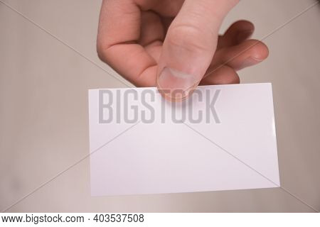 Hand Hold Blank White Card Mockup With Rounded Corners. Plain Call-card Mock Up Template Holding Arm