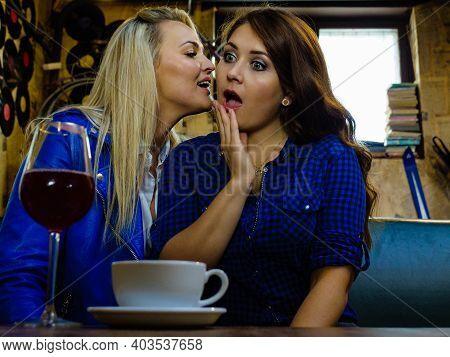 Gossips With Best Friend. Young Woman Telling Her Friend Some Secrets, Two Women Talking Gossiping I