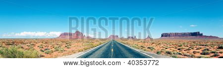 Road to the Monument Valley panoramic view poster