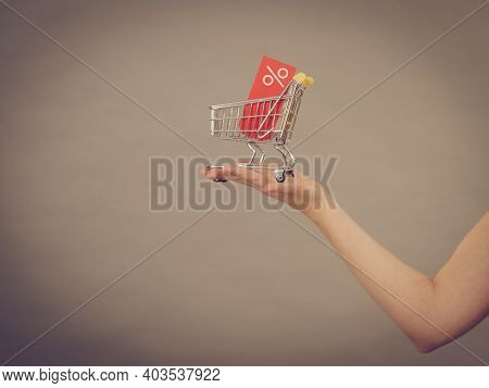 Affordable Sales. Female Hand Holding Small Shopping Trolley Cart With Percentage Sale Sign, On Grey