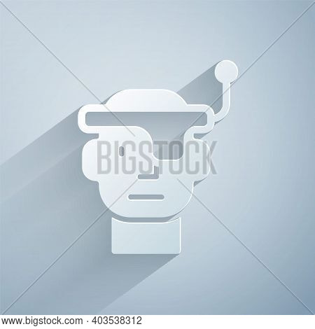 Paper Cut Smart Glasses Mounted On Spectacles Icon Isolated On Grey Background. Wearable Electronics