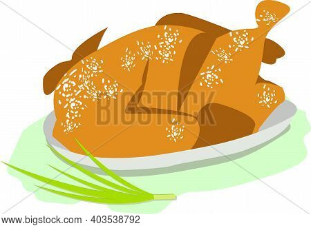 Fried Chicken With A Crispy Brown Crust On A Gray Large Plate. A Green Onion Lies On The Surface Nea
