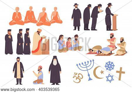 World Religion Flat Icons Set With Followers Of Buddhism Judaism Christianity Islam And Their Symbol