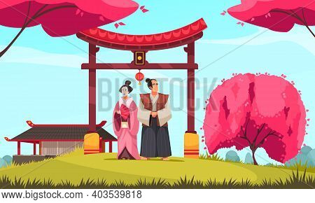 Japanese Traditional Composition With Outdoor Scenery And Couple In Ancient Costumes With Gate And B