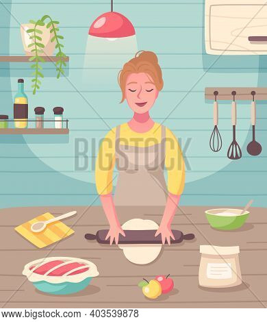 Cooking Baking Hobby Flat Cartoon Composition With Woman Creating Homemade Sweets And Treats Dessert