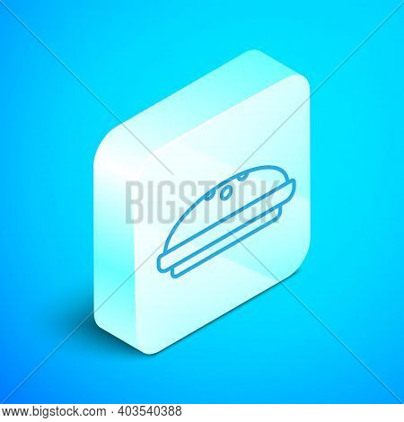 Isometric Line Homemade Pie Icon Isolated On Blue Background. Silver Square Button. Vector