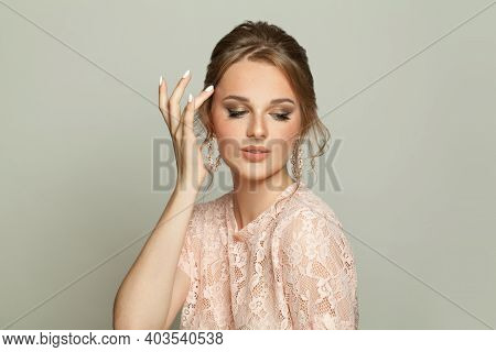 Lovely Young Woman On White Background. Beautiful Portrait