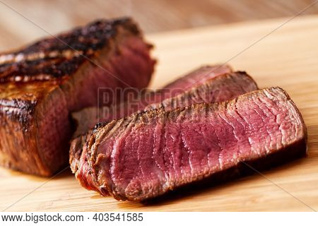 Slices Of Beef Tenderloin Ready To Be Served.