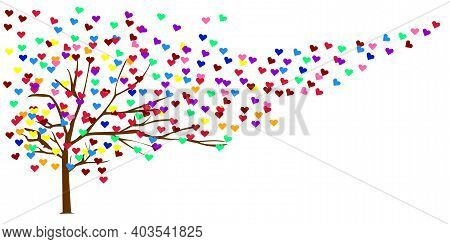 Illustration Abstract Isolated White Background. Romantic Tree Colorful. Love Of Lgbth. Tree Of Love