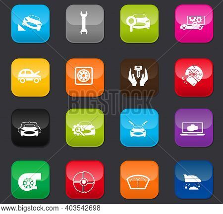 Car Shop Icon Set For Web Sites And User Interface. Colored Buttons On A Dark Background