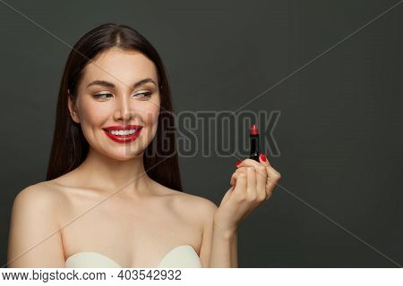 Fashion Model Woman With Red Lips On Black Background