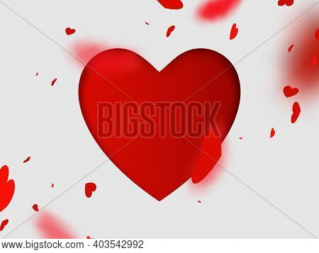 Valentines Day With Heart Confetti Falling And Big Heart Paper On White Background. Vector Illustrat
