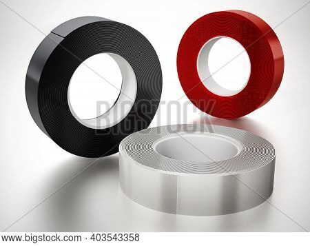 Black And White Electrical Tapes Isolated On White Background. 3d Illustration.