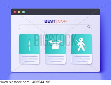 Set Magician Hat, Dagger And Voodoo Doll Icon. Vector