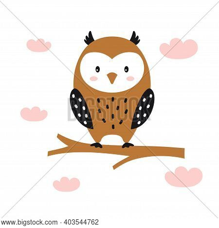 Cute Owl Illustration Isolated On White, Card With Funny Owl And Clouds, Scandinavian Style, Cute An