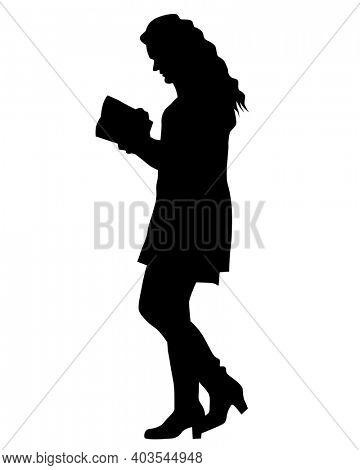 Young woman reads a book. Isolated silhouette on white background