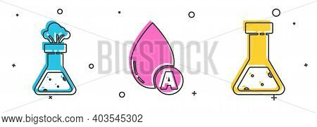 Set Test Tube And Flask Chemical, Water Drop And Test Tube And Flask Chemical Icon. Vector