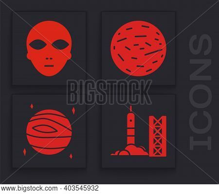 Set Rocket Launch From The Spaceport, Alien, Planet Venus And Planet Venus Icon. Vector