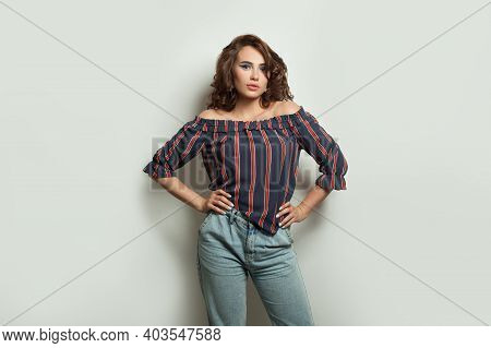 Nice Model Woman Standing On White Banner Background