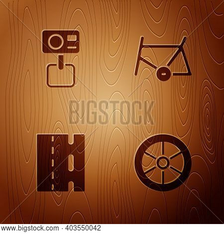 Set Bicycle Wheel, Action Extreme Camera, Lane And Frame On Wooden Background. Vector