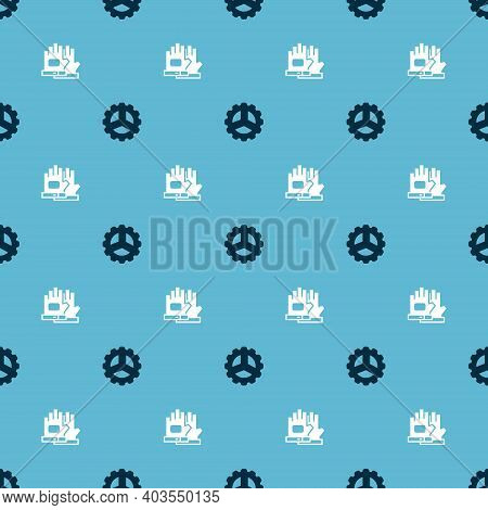 Set Bicycle Sprocket Crank And Gloves On Seamless Pattern. Vector