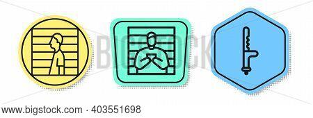 Set Line Suspect Criminal, Suspect Criminal And Police Rubber Baton. Colored Shapes. Vector