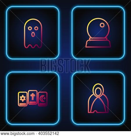 Set Line Mantle, Cloak, Cape, Three Tarot Cards, Ghost And Magic Ball. Gradient Color Icons. Vector