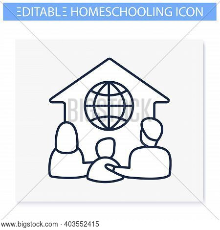 Global Homeschooling Line Icon. Spend More Time Finding Friends. Home Education Concept. Distant Rem