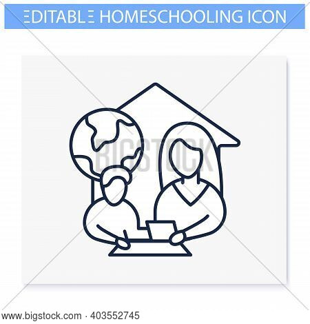 Geography Lesson Line Icon. Child Teaches Geographics With Mother. Home Education Concept. Distant R