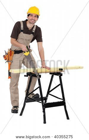 Carpenter sawing plank of wood