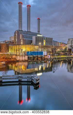 Cogeneration Plant At The River Spree In Berlin At Night