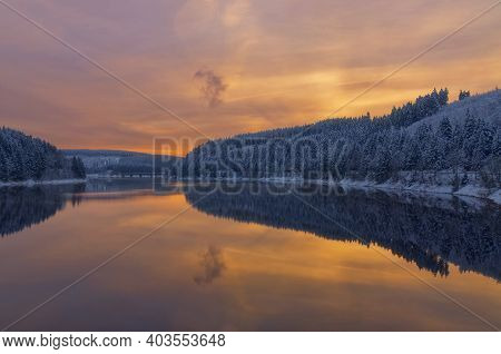 Evening At Okertalsperre Reservoir In Harz Mountain,germany