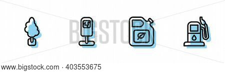 Set Line Bio Fuel Canister, Tree, Trash And Petrol Or Gas Station Icon. Vector