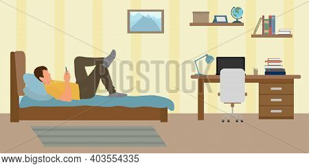 Problem Of Distance Learning Among Students. Unwillingness To Study At Home. Guy Lies On Bed And Lis