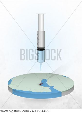 Vaccination Of Qatar, Injection Of A Syringe Into A Map Of Qatar. Vector Illustration Of A Syringe W