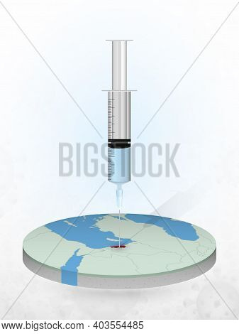 Vaccination Of Lebanon, Injection Of A Syringe Into A Map Of Lebanon. Vector Illustration Of A Syrin