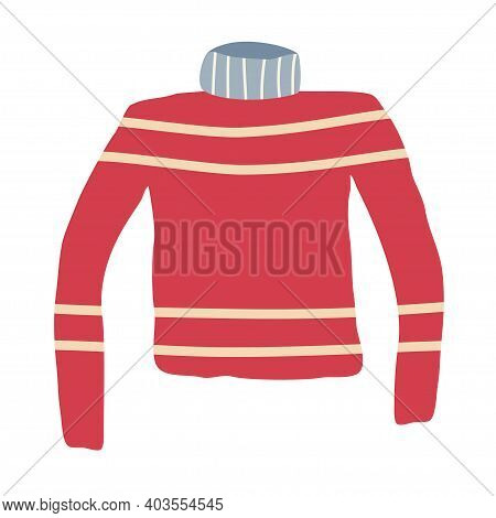 Jumper With Decoration, In A Flat Handdraw Style Isolated On A White Background. Sweater For Active