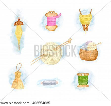 Watercolor Set With A Basket Of Threads, A Clothespin, A Spindle, Knitting Threads And Needles, A Sa