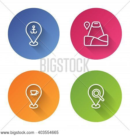 Set Line Location With Anchor, Mountain, Coffee Cup And Search Location. Color Circle Button. Vector