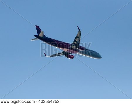 Heraklion,  Greece - August 16, 2020 - Airbus A321-200 Of The Airline Wizz Air Uk After Taking Off F