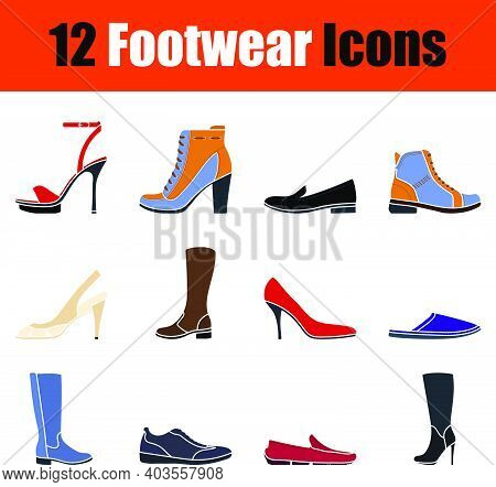 Footwear Icon Set. Flat Design. Fully Editable Vector Illustration. Text Expanded.