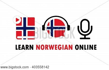 Learn Norwegian Online Banner. Learning Foreign Language. Online Education. Vector Eps 10. Isolated