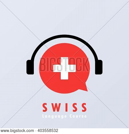 Swiss Language Course Banner. Learning Foreign Language. Online Education. Vector Eps 10. Isolated O