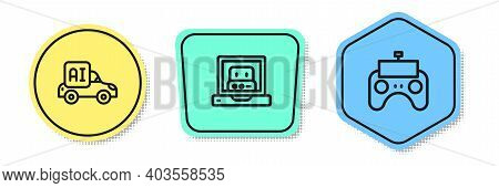 Set Line Autonomous Smart Car, Creating Robot And Remote Control. Colored Shapes. Vector