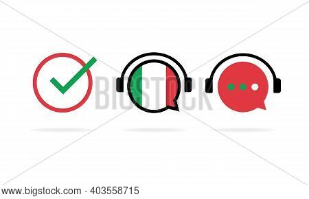 Online Italian Course Banner. Learning Foreign Language. Online Education. Vector Eps 10. Isolated O