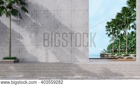 Empty Concrete Wall With Tropical Style Swimming Pool Background Overlooking The Sea, Sunlight Shini