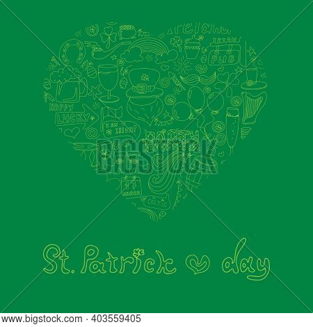 St. Patrick S Day Greeting Card With Hand-drawn Pictures. A Doodle Of Beer, A Rainbow, A Leprechaun