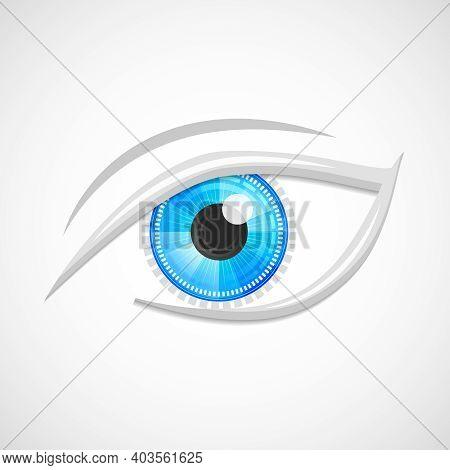 Decorative Cyber Robot Digital Hi-tech Look Vision Optic Emblem Isolated Vector Illustration.